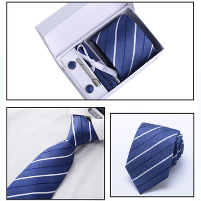 Men's Fashion Accessories Made Blue Woven Tie 100% Silk Necktie for Custom Made Gift Neckties