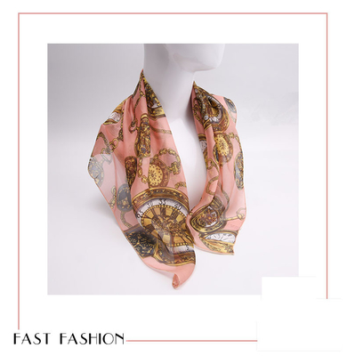 Women fashion large square twill printed silk neck scarves